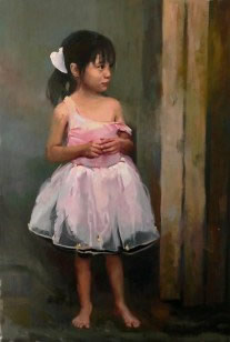 Motivational paintings of Gary Holland at www.hollandgallery.com  painted portrait of mother dressing child